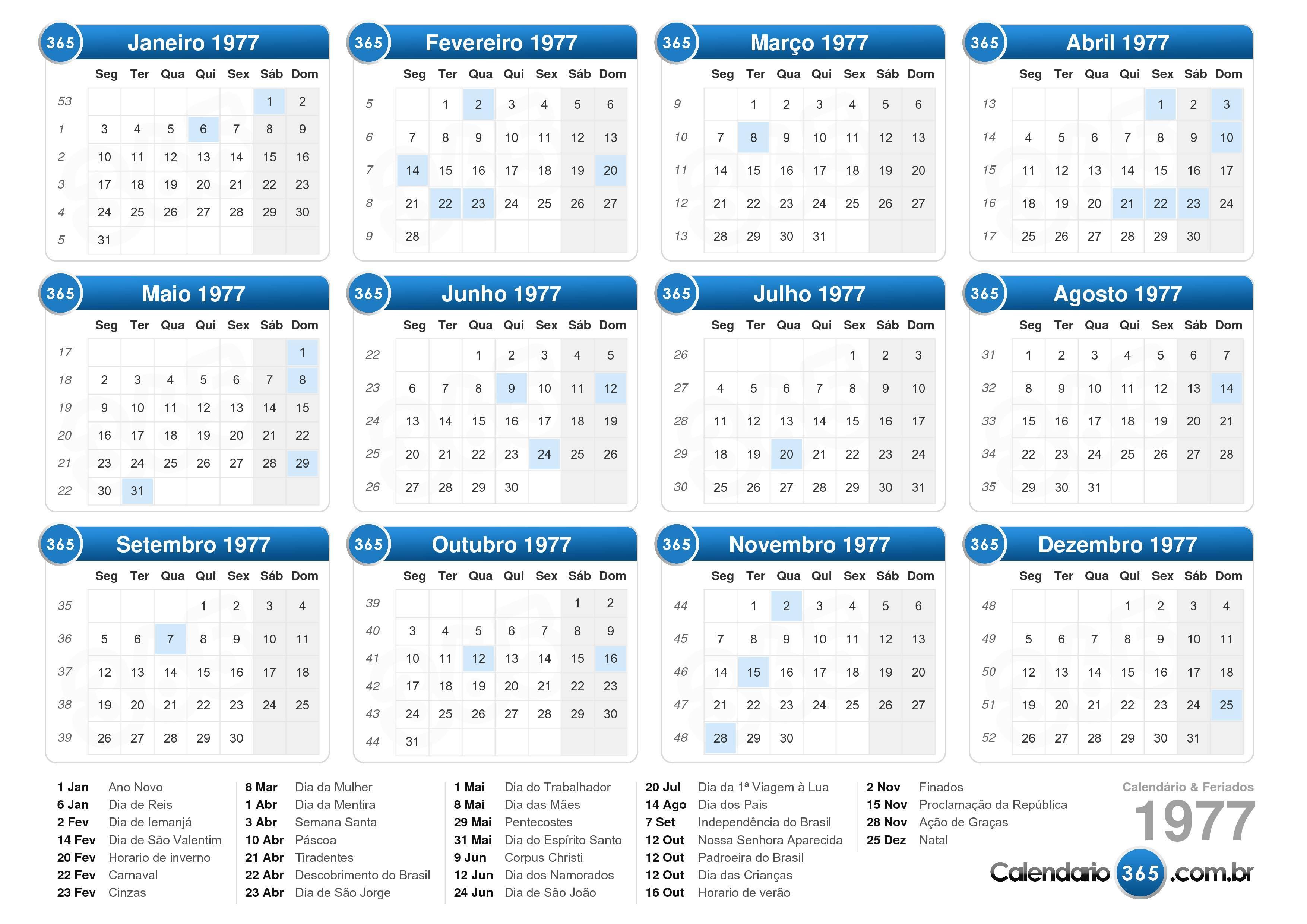 Calendario Ual.Calendario 1977