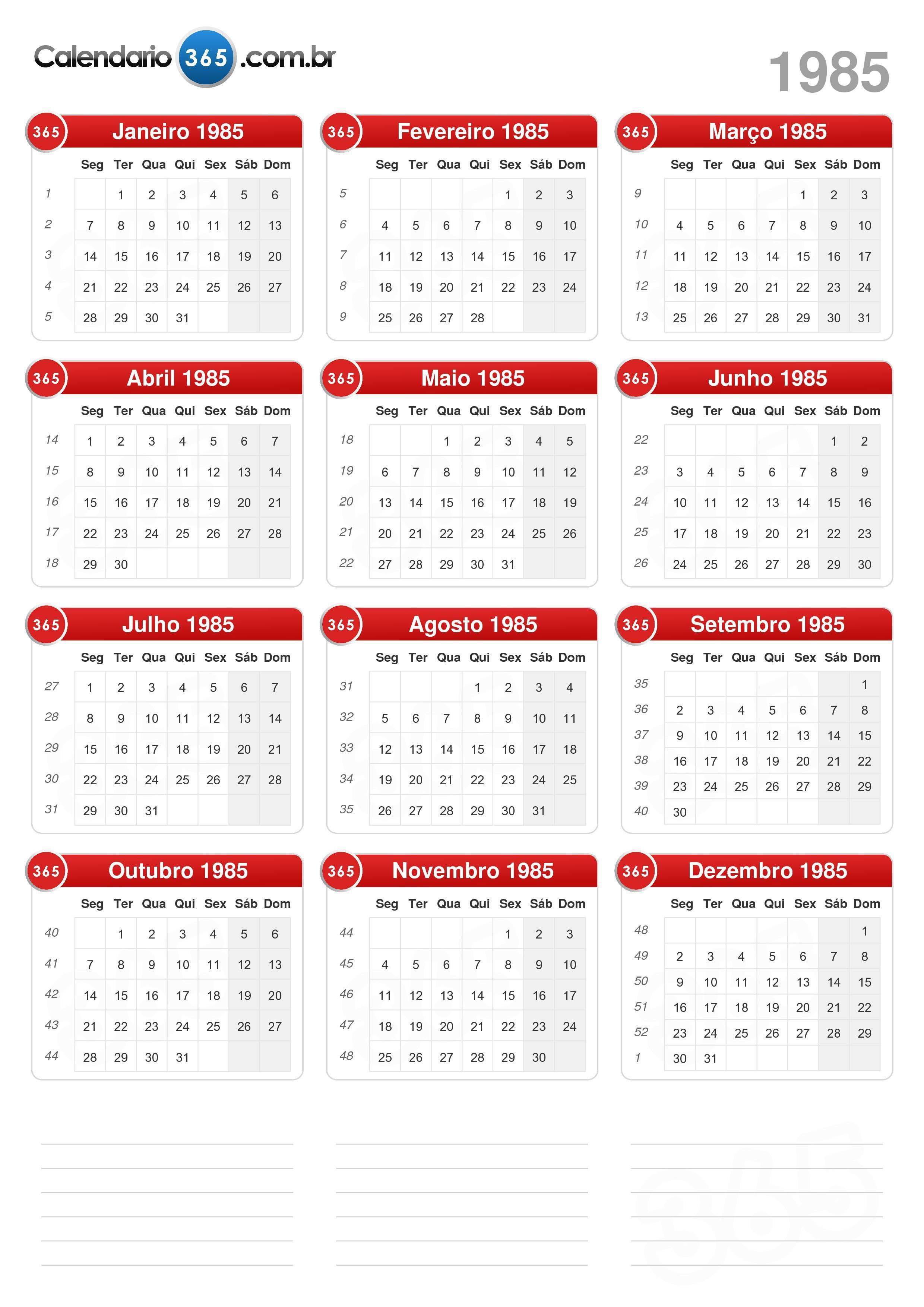 Calendario 18.Calendario 1985