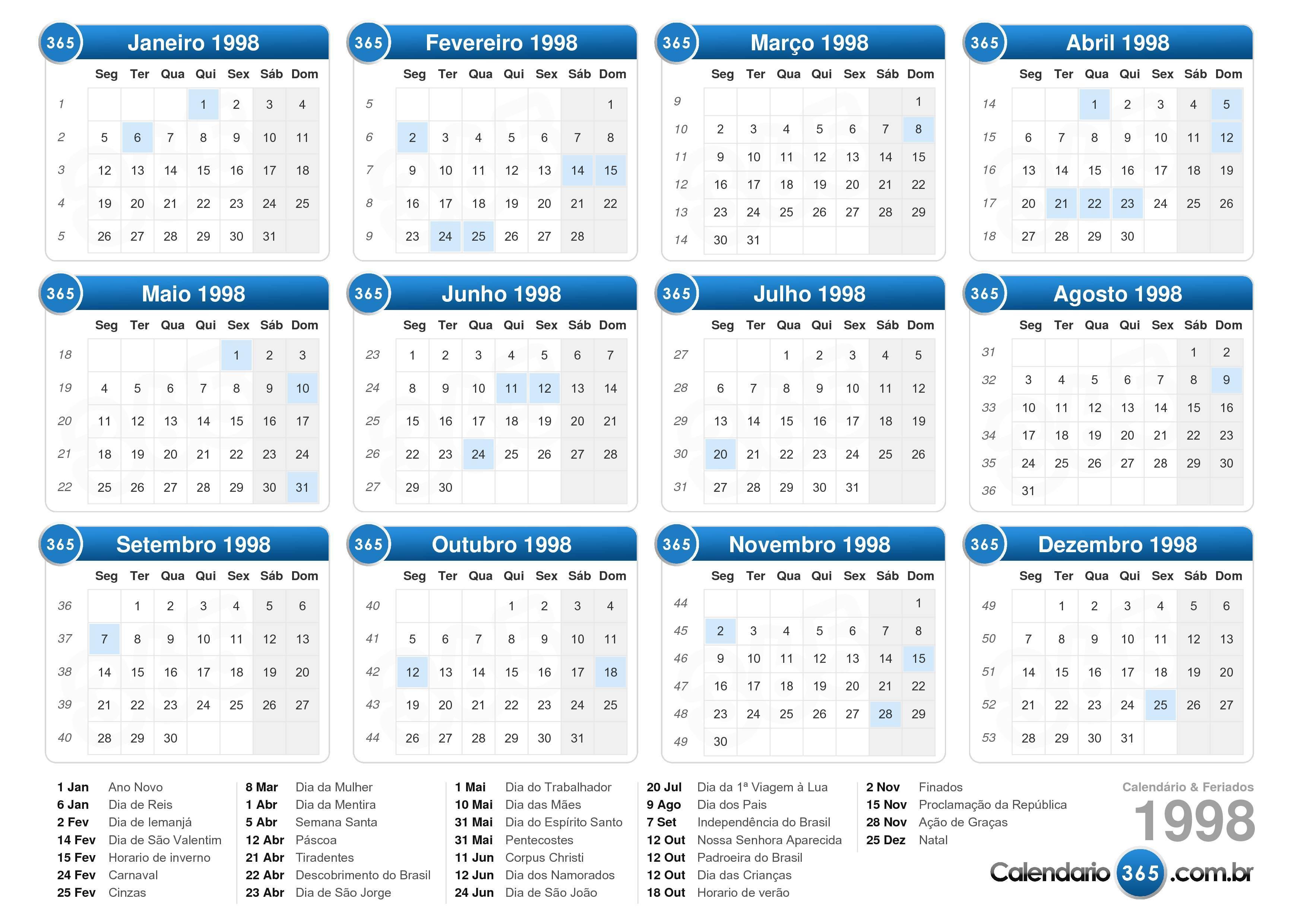 ... 1998 com feriados formato de paisagem 1 página calendário 1998 1 055