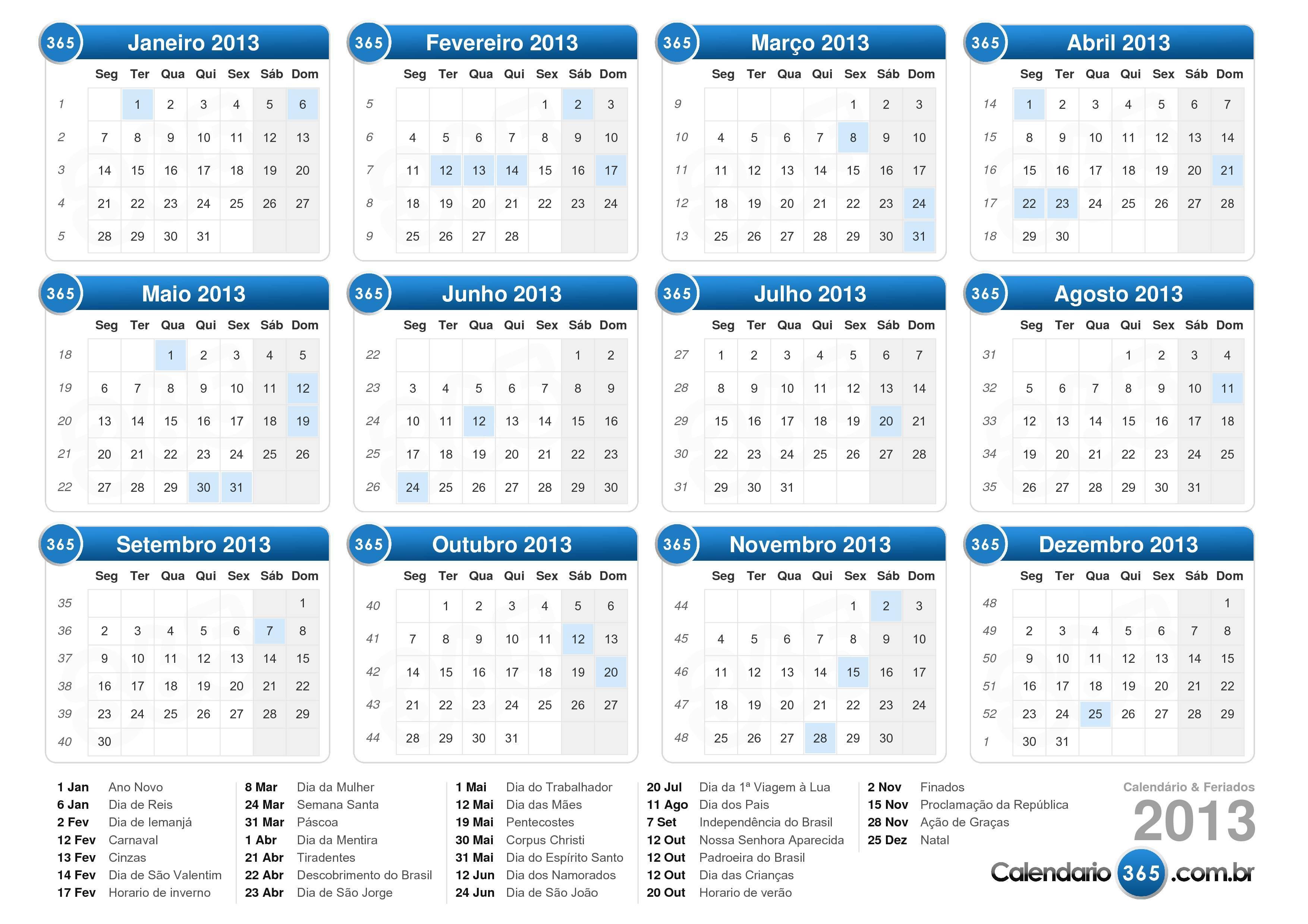 Baixe o calend 225 rio 2013 com feriados formato de paisagem 1