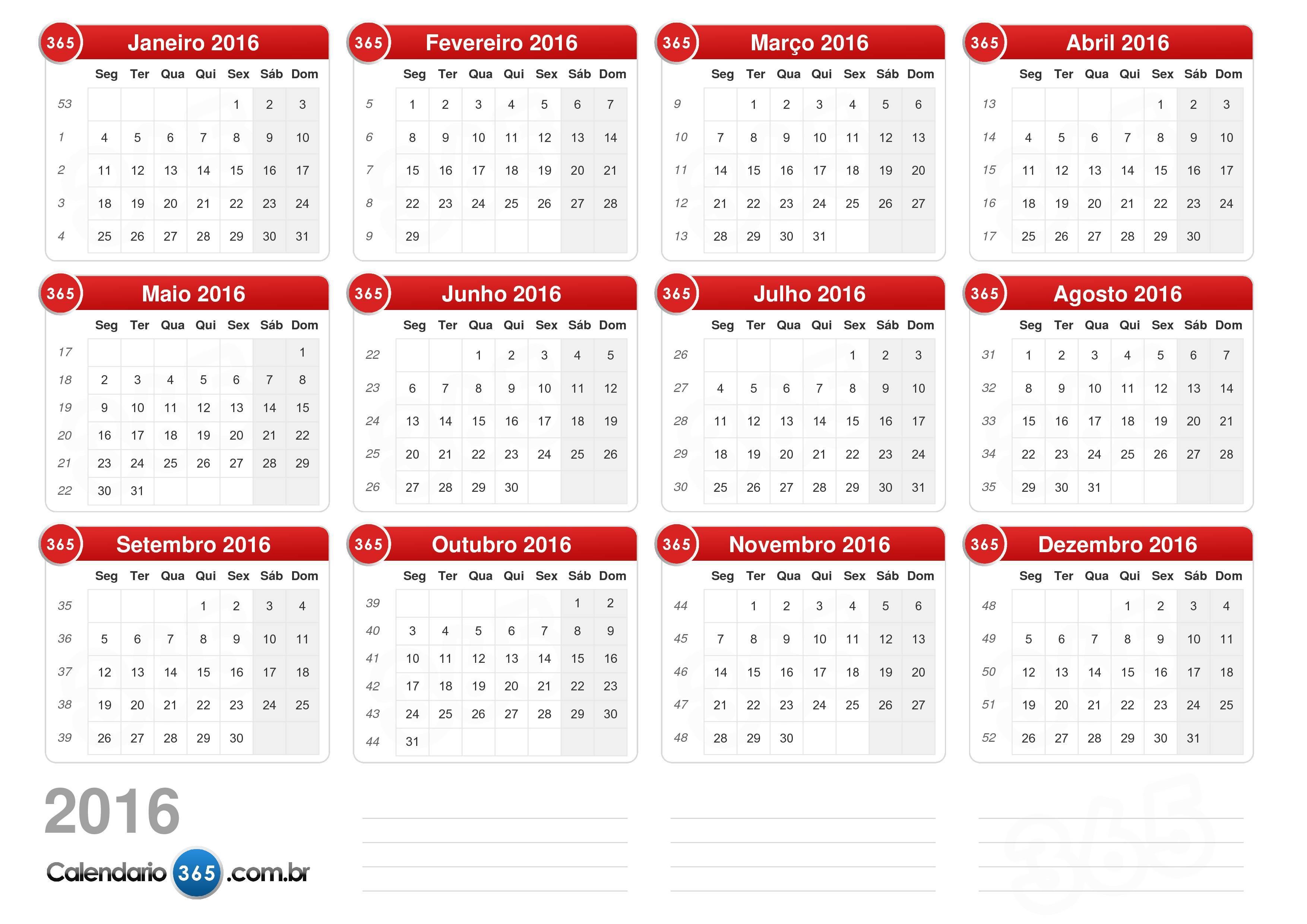 ... 2016 sem feriados formato de paisagem 1 página calendário 2016 4 332