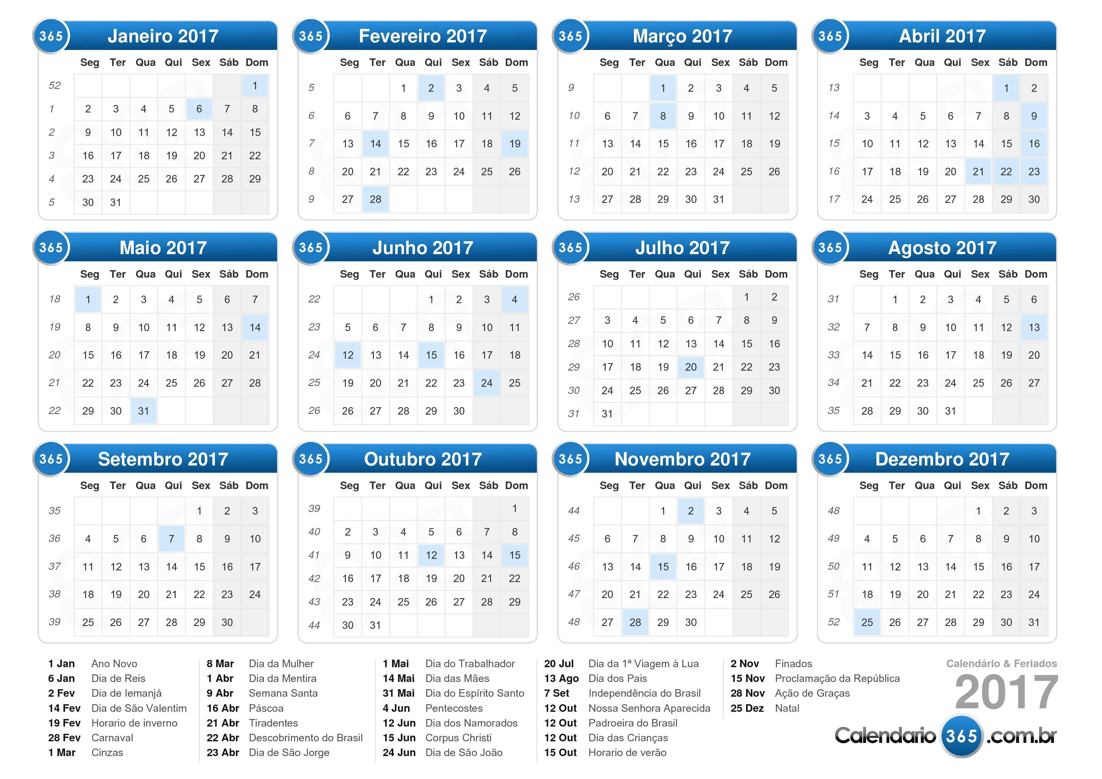 Baixe o Calendário 2017 com feriados . (Formato de paisagem - 1 ...