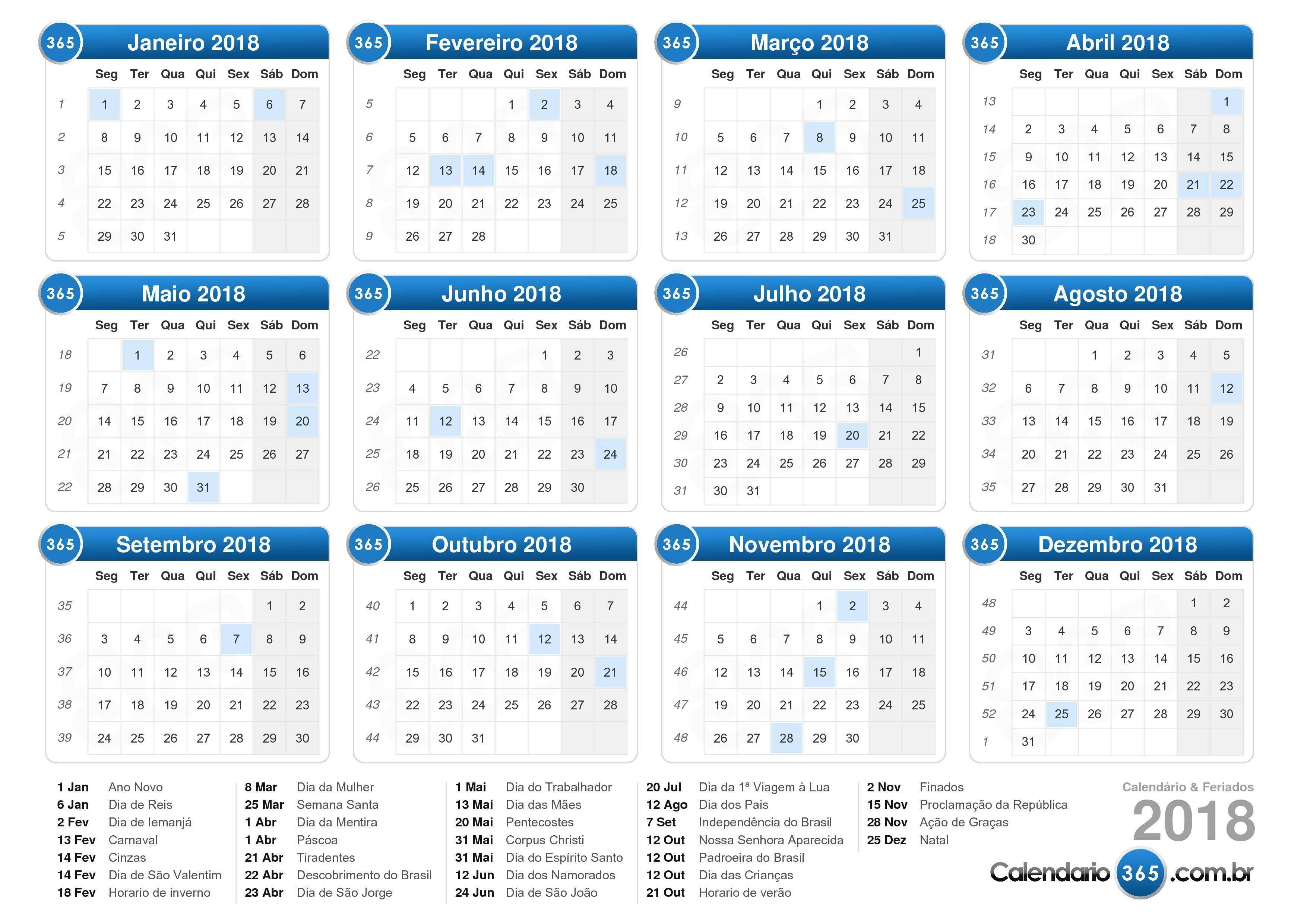Calendario 2018 Brasil.Calendario 2018