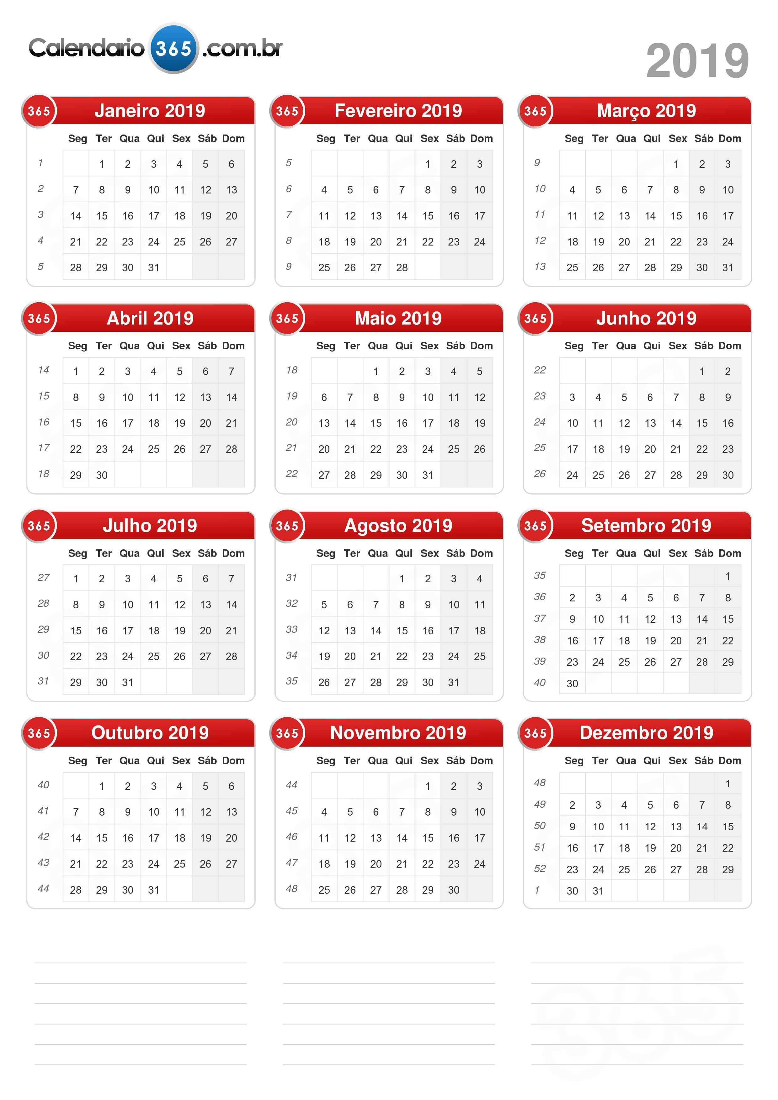 Calendario 2019 Campo Grande Ms.Calendario 2019