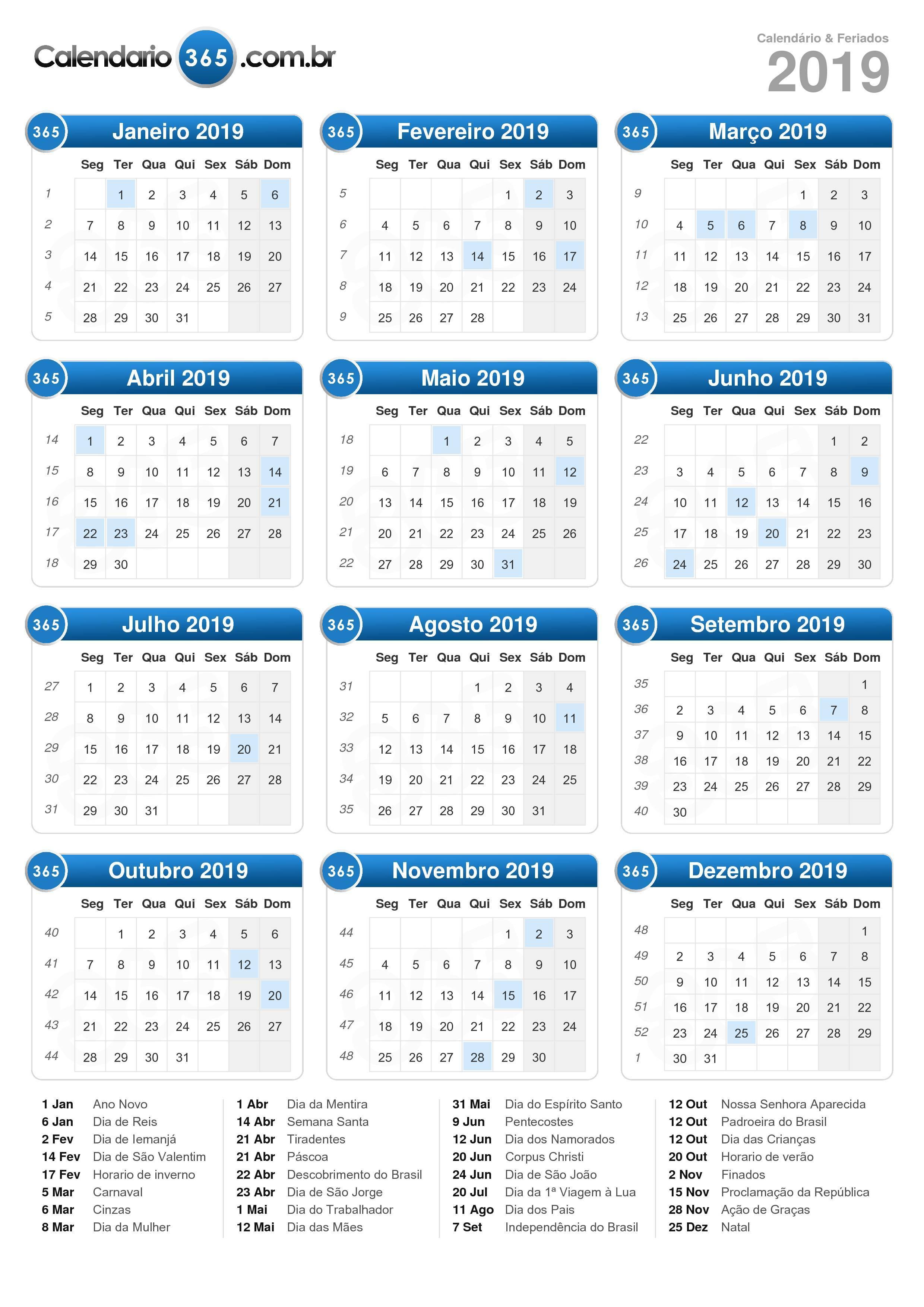 Calendario 365.Calendario 2019