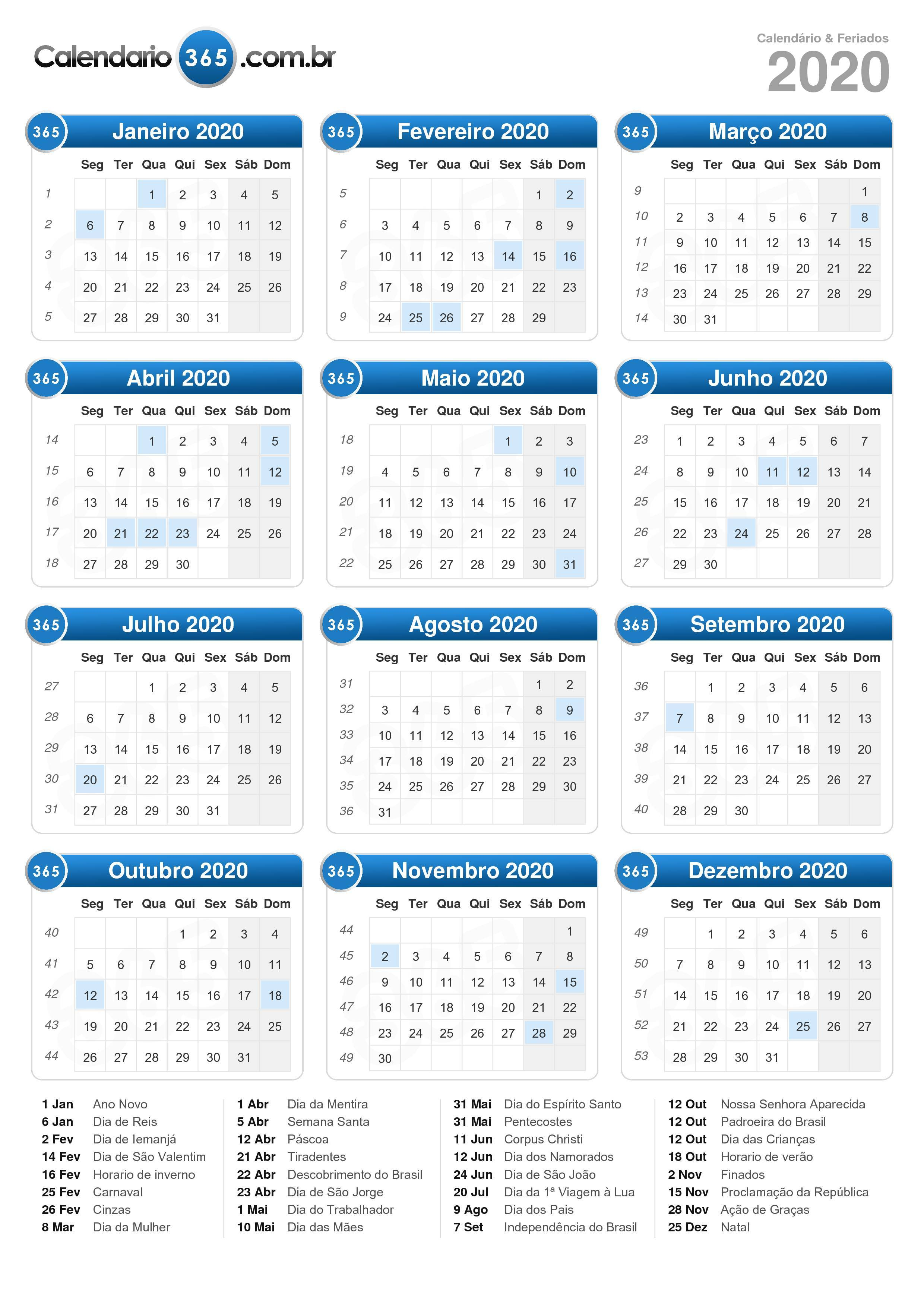 Calendario De 2020 Completo.Calendario 2020