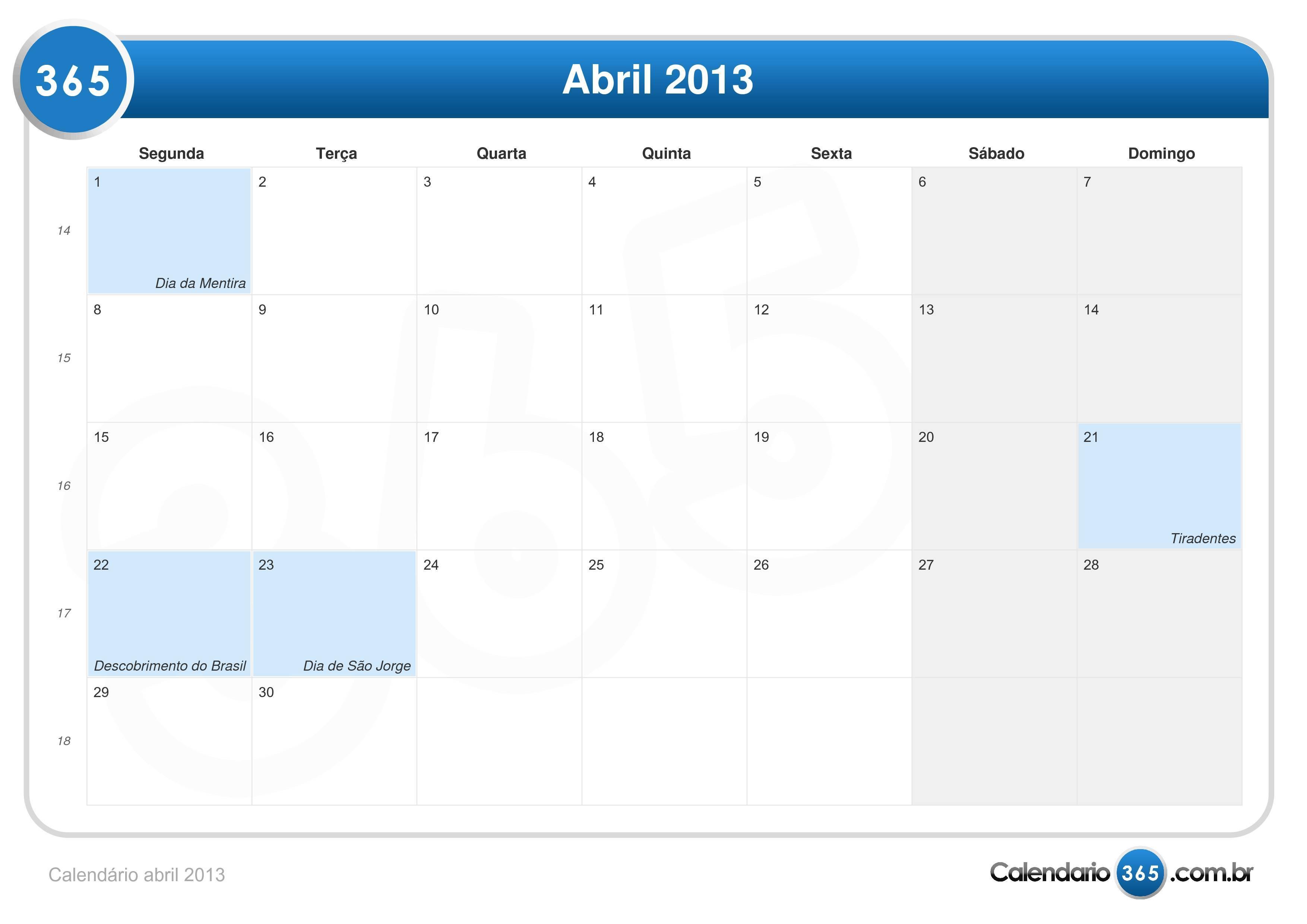 Calend  Rio Abril 2013