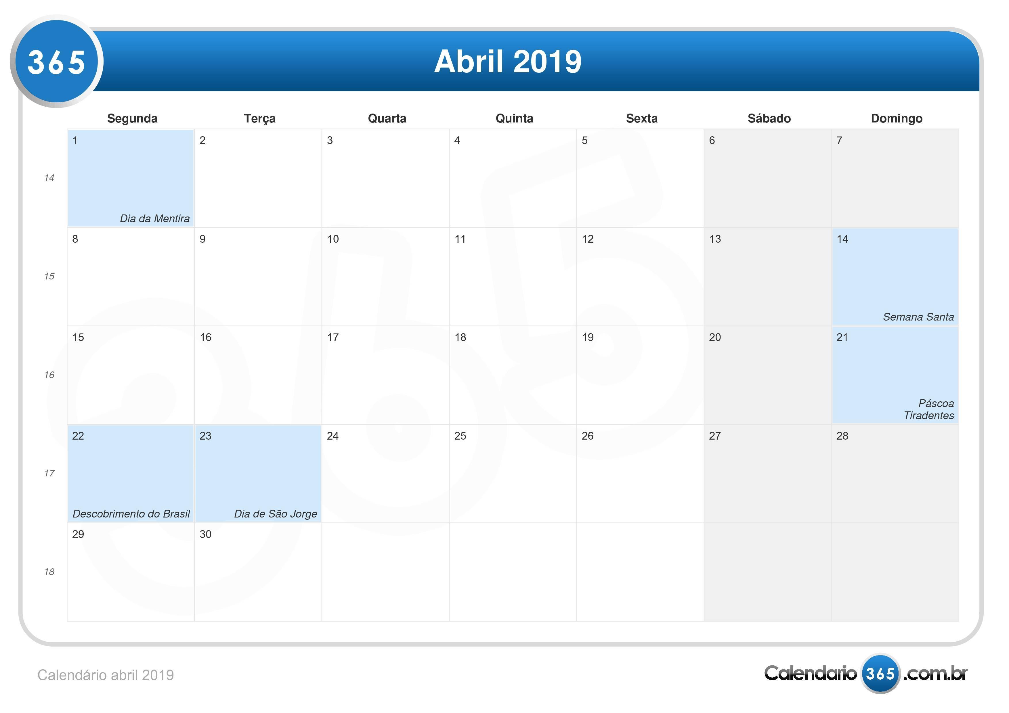 Calendario 2019 Semana Santa