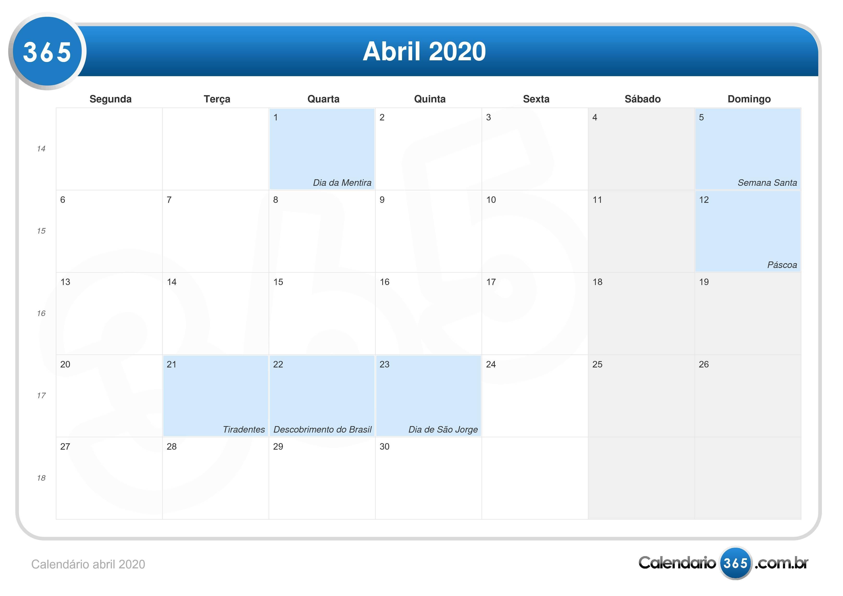 Calendario 2020 Pdf Brasil.Calendario Abril 2020