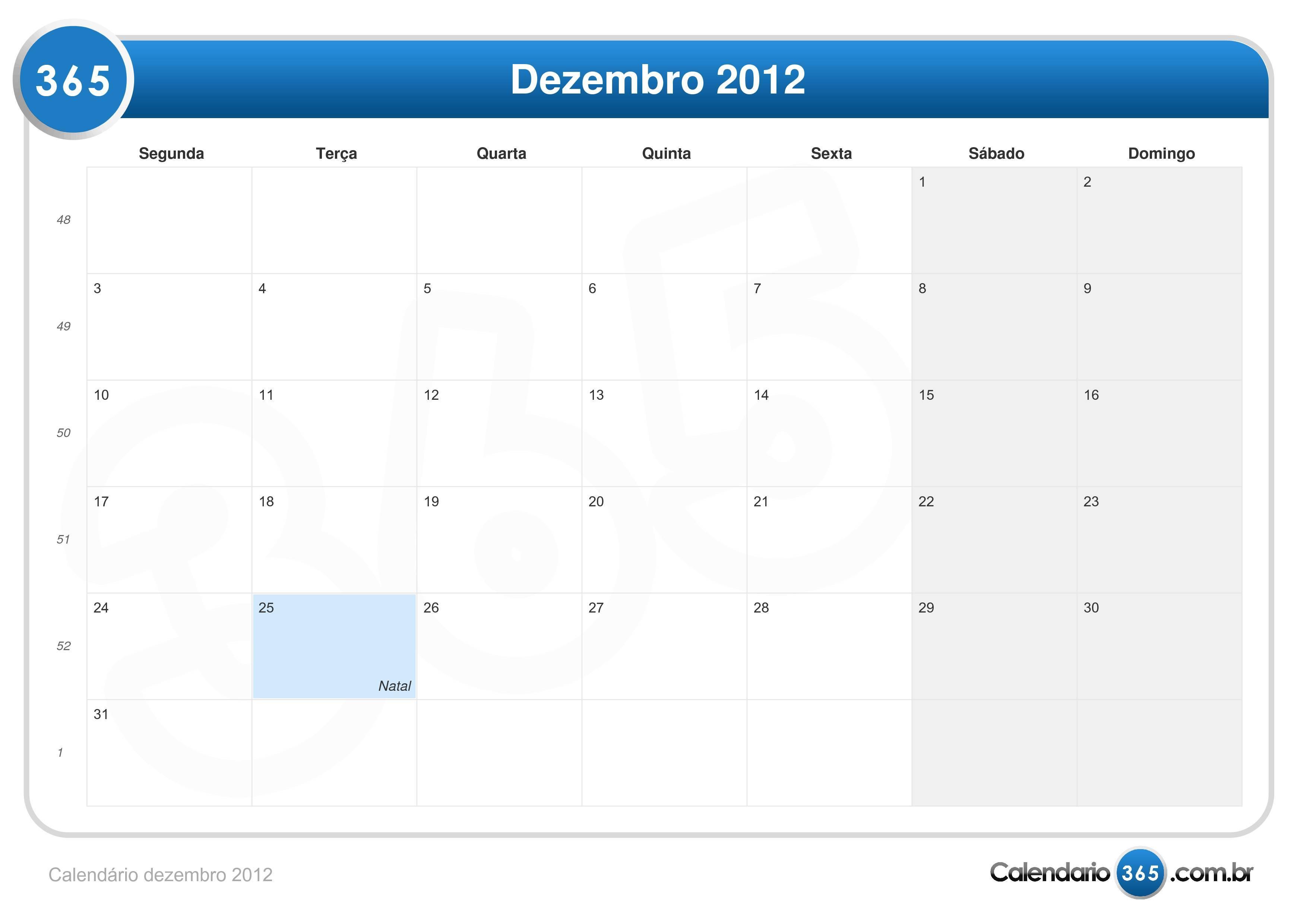Calend  Rio Dezembro 2012
