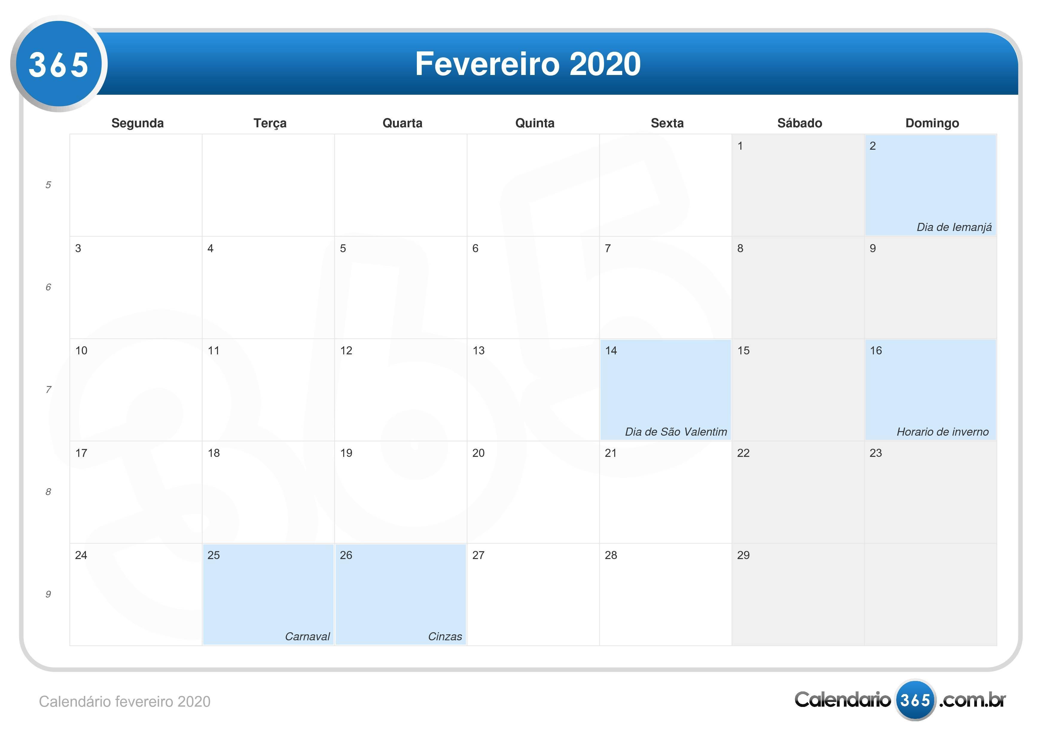 Calendario 2020 Com Feriados.Calendario Fevereiro 2020