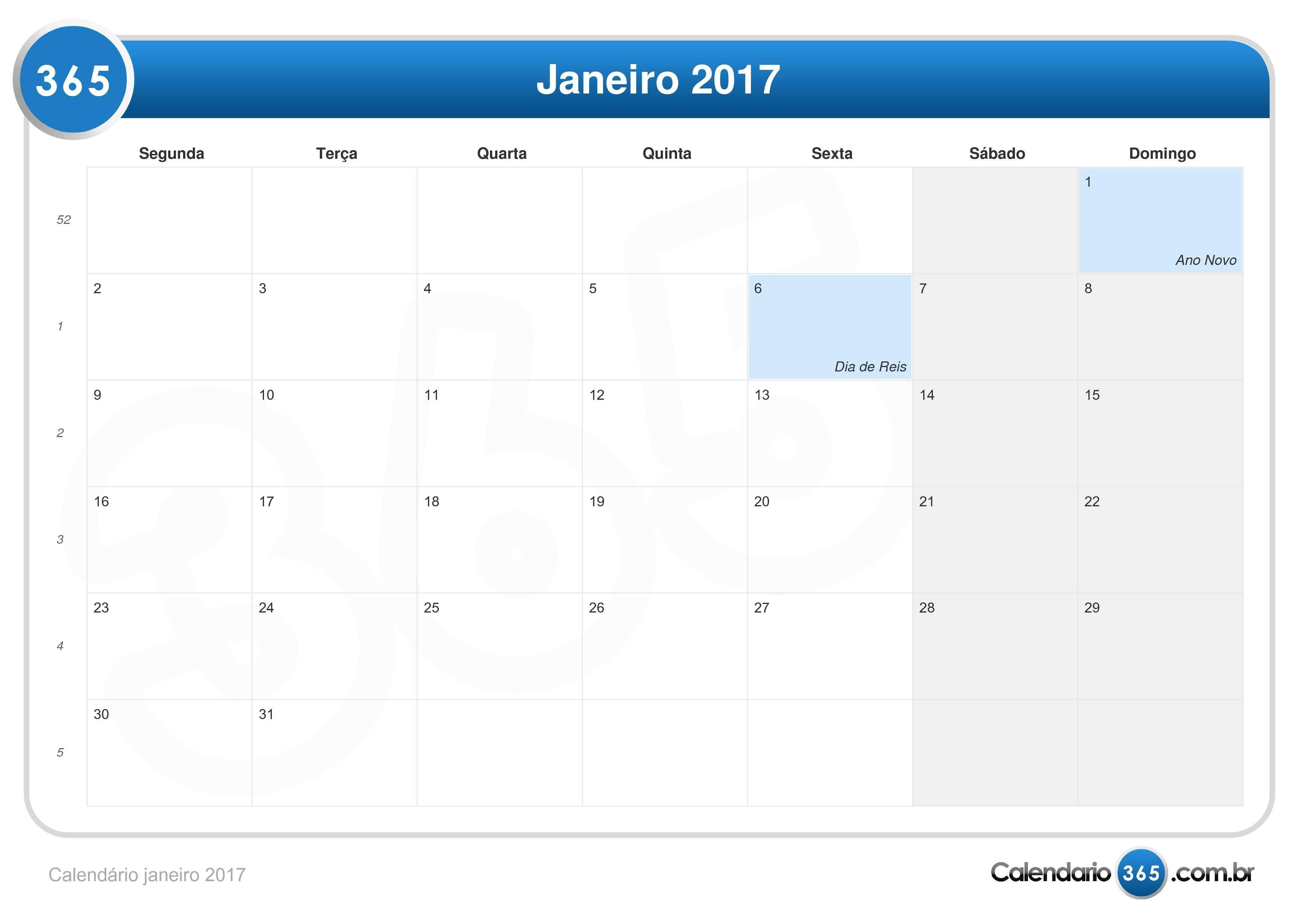 Calend rio janeiro 2017 for Fase lunar mayo 2016