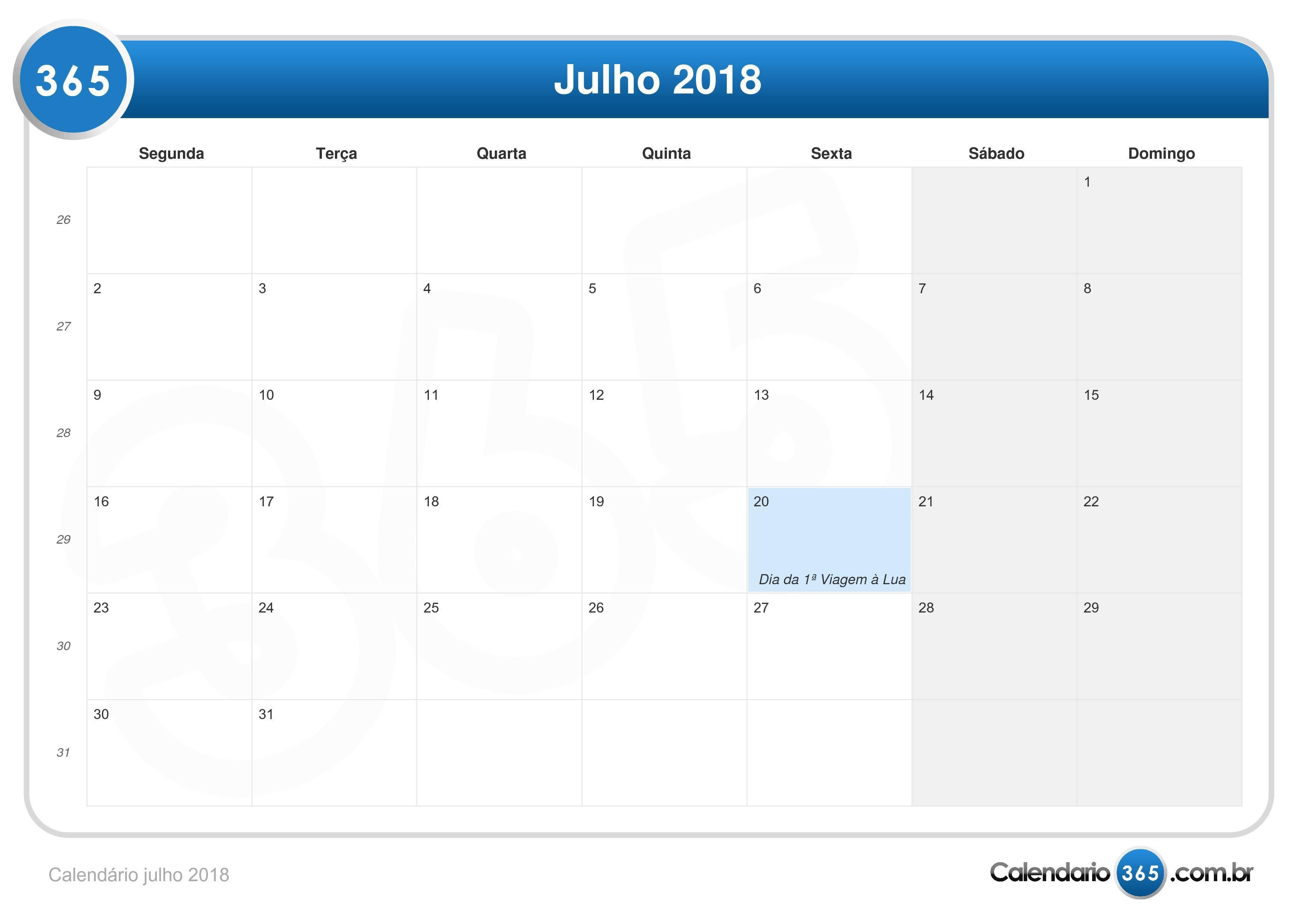 Calend rio julho 2018 for Calendario lunar de octubre 2016