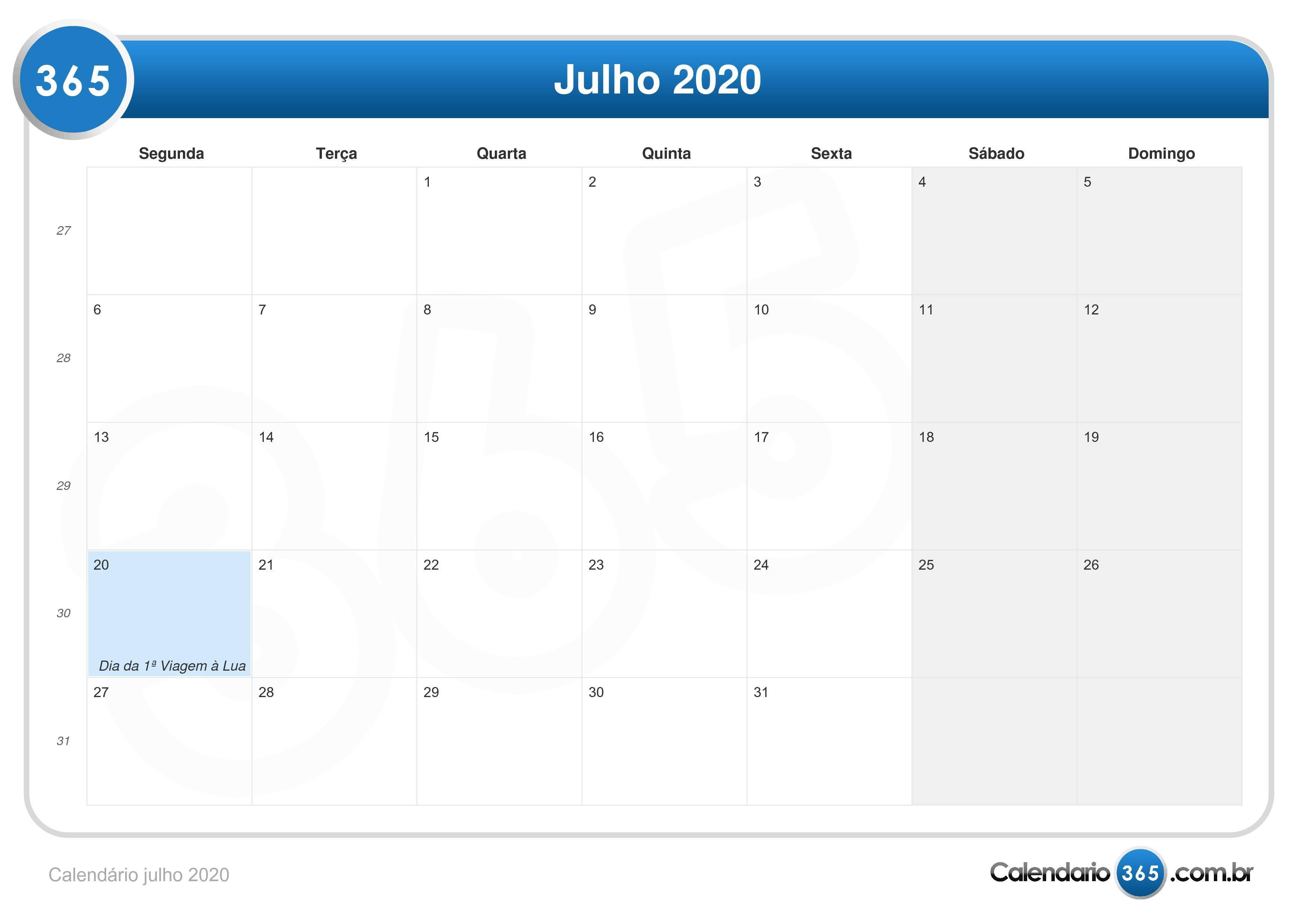Calendario 2020 Julho