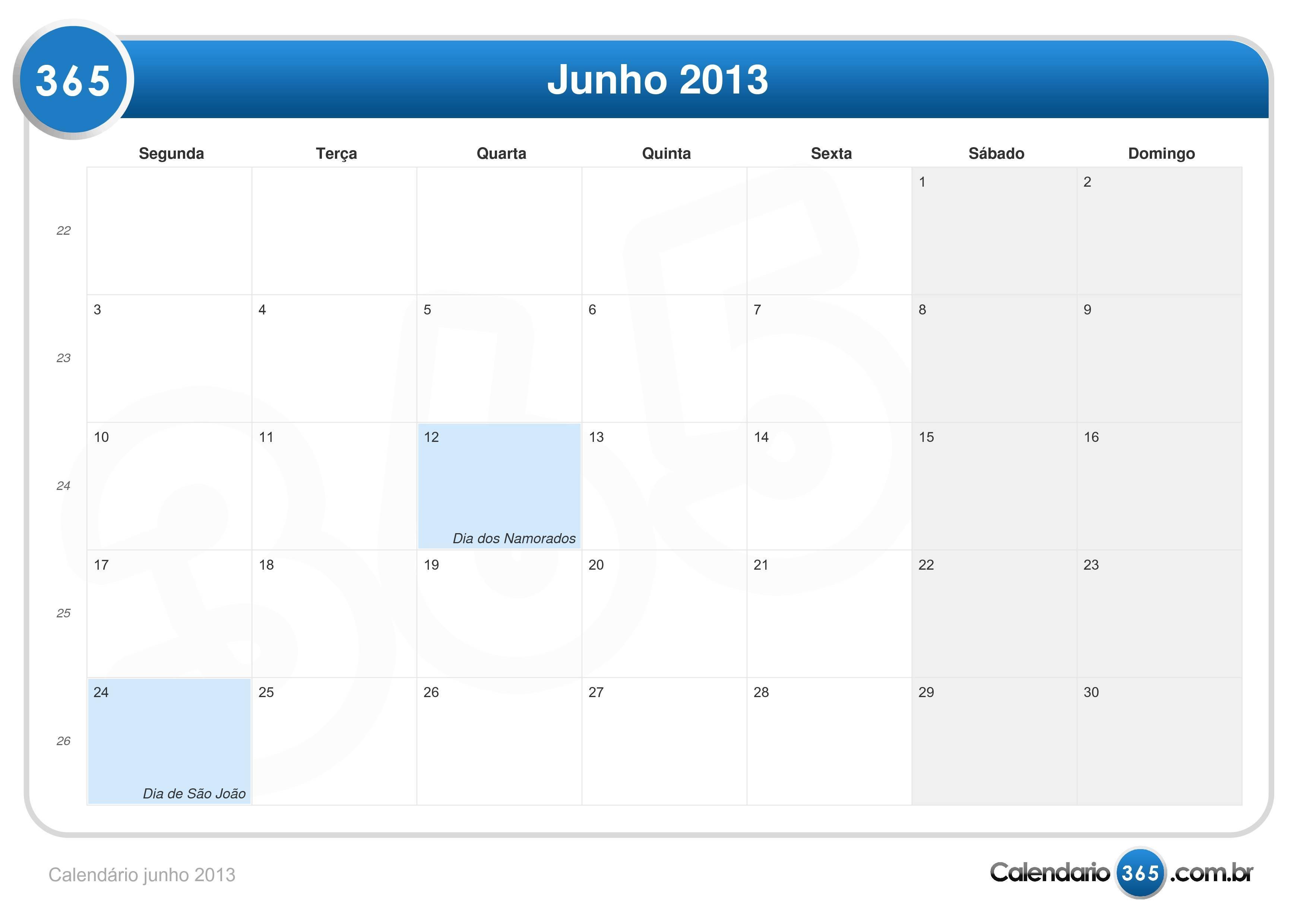 Calendário junho 2013