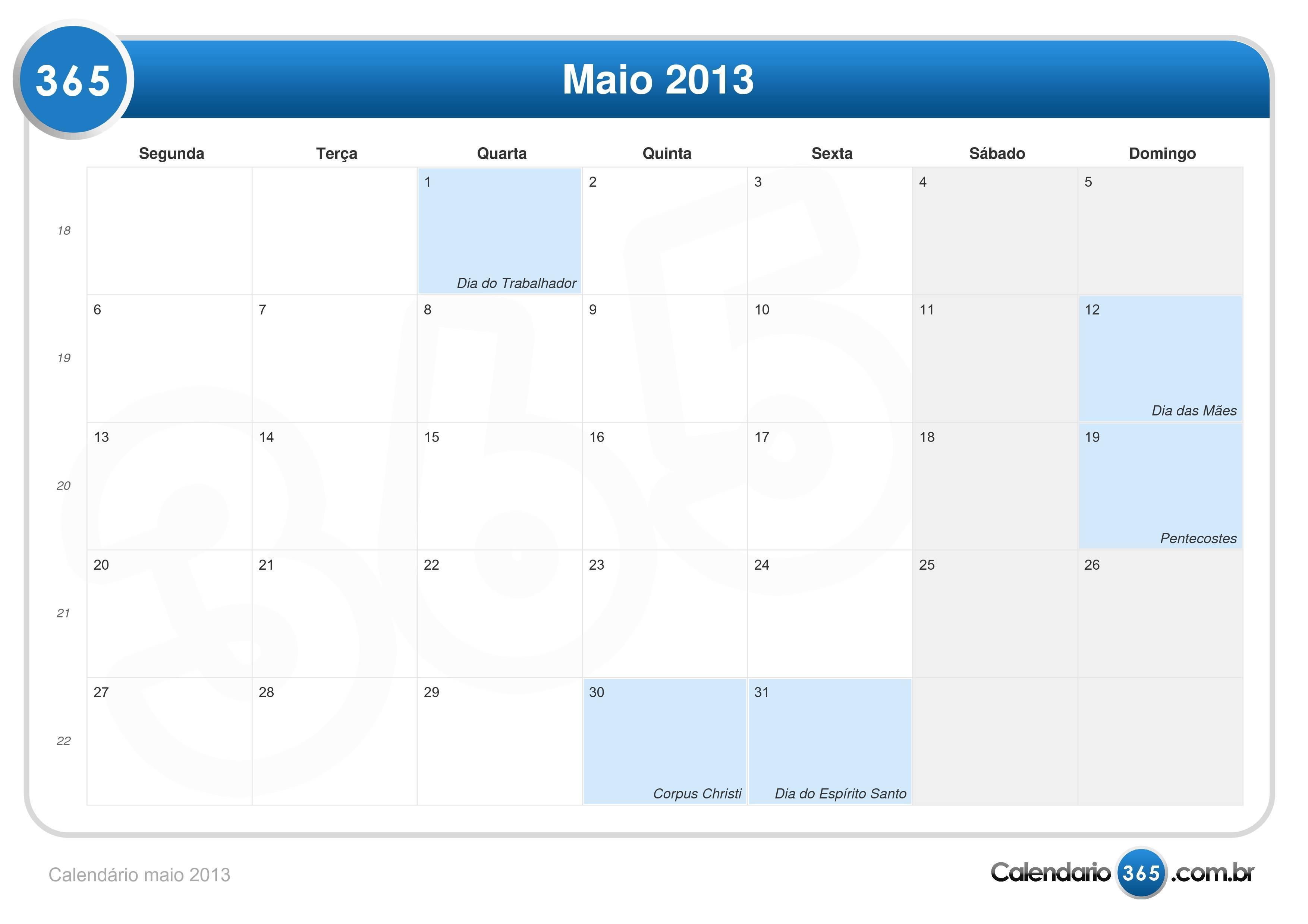 Calendário maio 2013