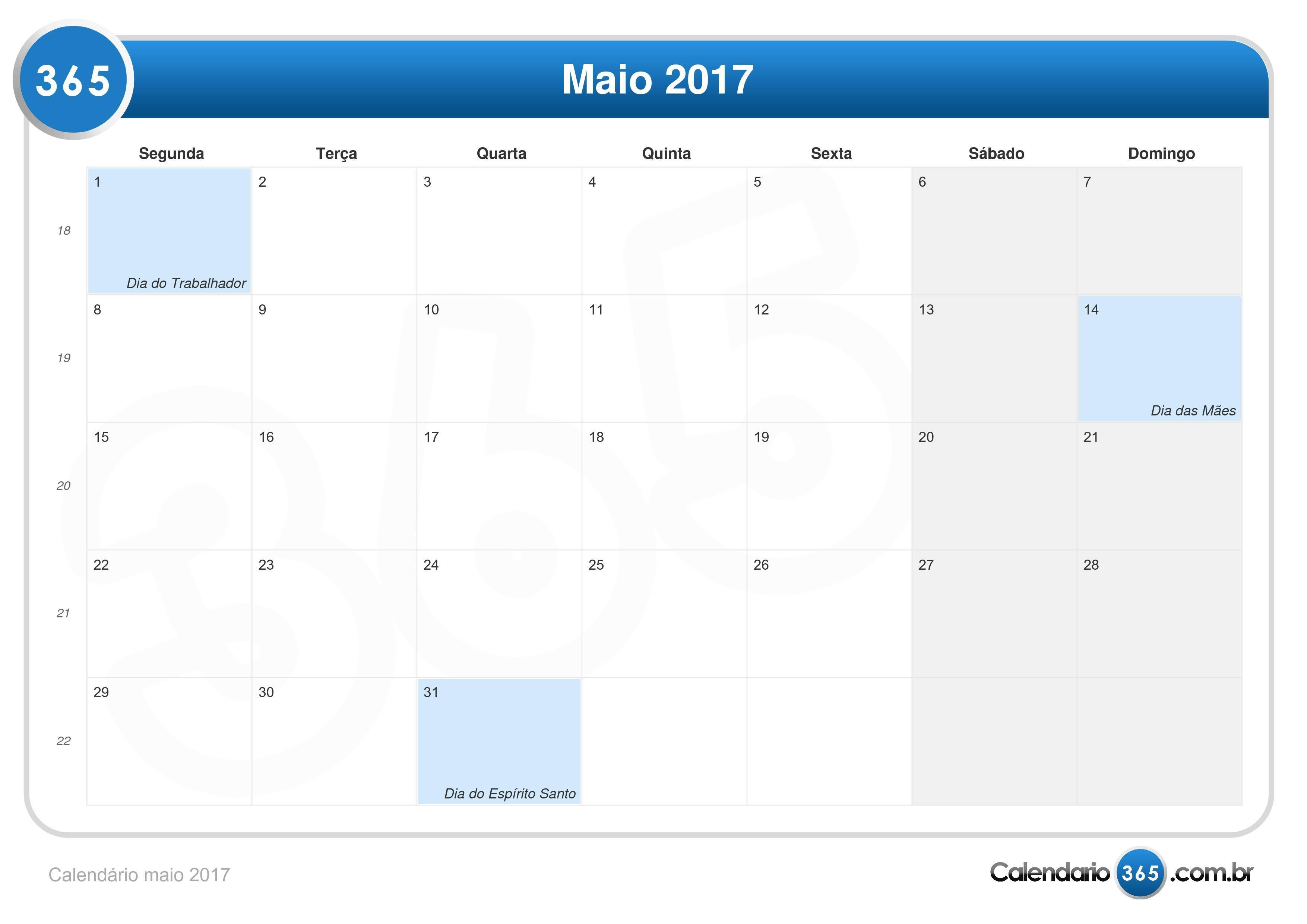 Calendario Maio 2017