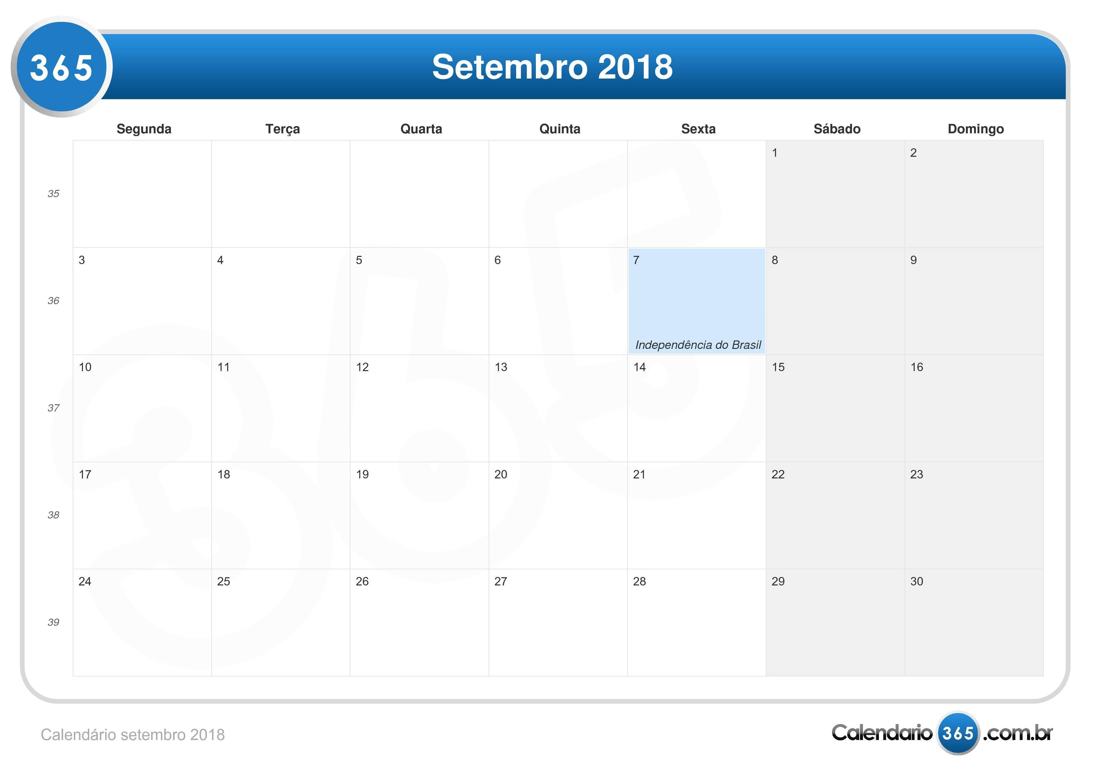 Calend rio setembro 2018 for Calendario de pared 2018